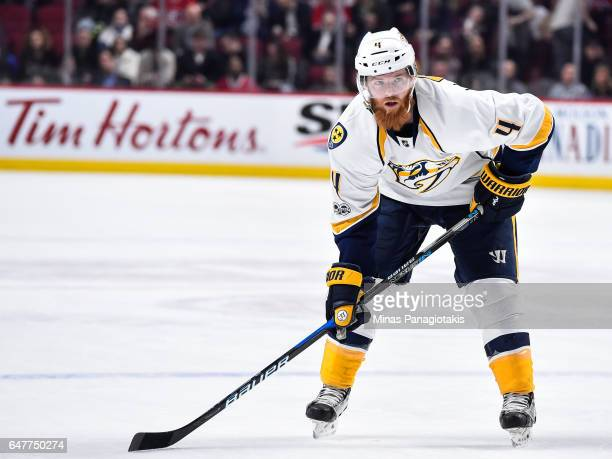 Ryan Ellis of the Nashville Predators looks on prior to a faceoff during the NHL game against the Montreal Canadiens at the Bell Centre on March 2...