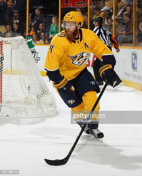Ryan Ellis of the Nashville Predators skates against the Tampa Bay Lightning during an NHL game at Bridgestone Arena on January 23 2018 in Nashville...