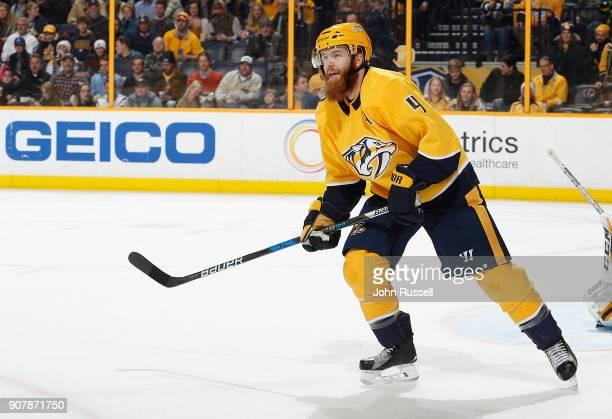 Ryan Ellis of the Nashville Predators skates against the Vegas Golden Knights during an NHL game at Bridgestone Arena on January 16 2018 in Nashville...