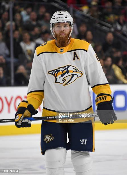 Ryan Ellis of the Nashville Predators takes a break during a stop in play in the first period of a game against the Vegas Golden Knights at TMobile...