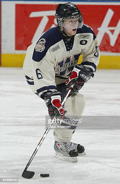 Ryan Ellis of the Windsor Spitfires skates with the puck in a game against the London Knights on February 20 2009 at the John Labatt Centre in London...