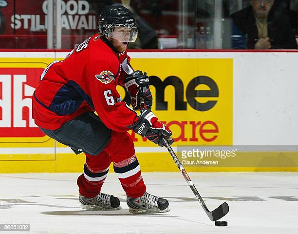 Ryan Ellis of the Windsor Spitfires skates with the puck in game 5 of the Western Conference Championship against the London Knights on April 22 2009...