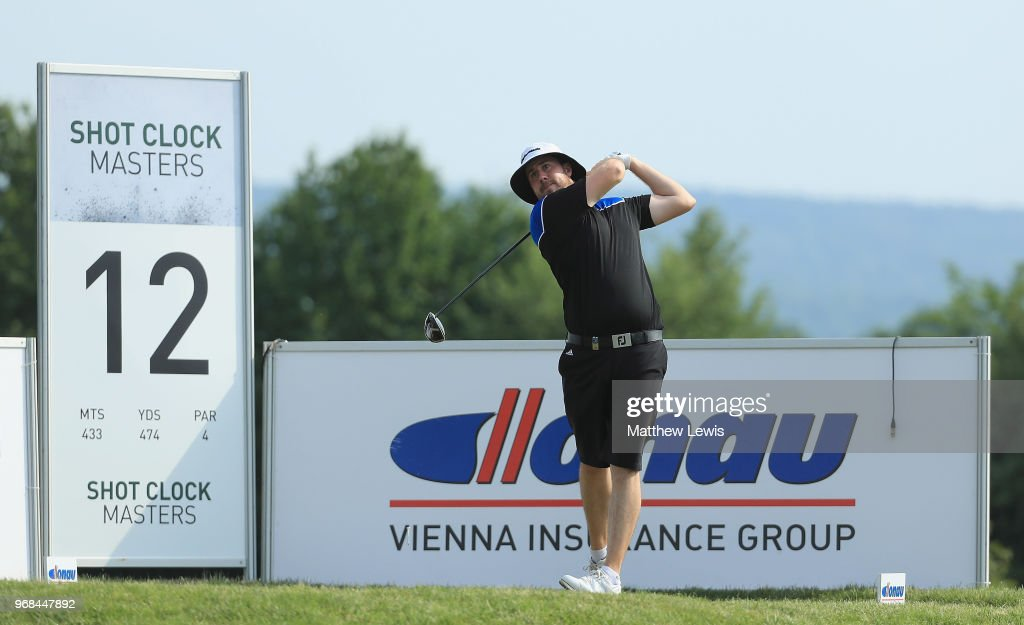 Ryan Evans of England tees off on the 12th hole during the Pro-Am of The 2018 Shot Clock Masters at Diamond Country Club on June 6, 2018 in Atzenbrugg, Austria.