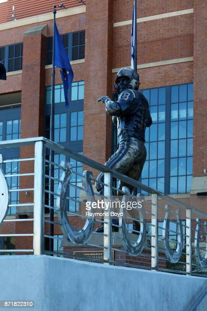 Ryan Feeney's statue of former Indianapolis Colts quarterback Peyton Manning stands outside Lucas Oil Stadium home of the Indianapolis Colts football...