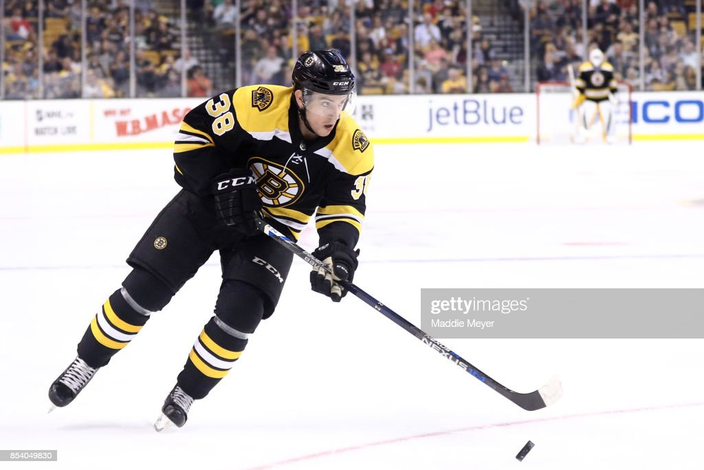 Ryan Fitzgerald #38 of the Boston Bruins skates against the Chicago Blackhawks during the first period at TD Garden on September 25, 2017 in Boston, Massachusetts.