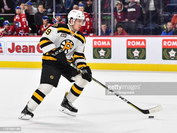 Ryan Fitzgerald of the Providence Bruins skates the puck in a shootout against the Laval Rocket during the AHL game at Place Bell on March 20 2019 in...