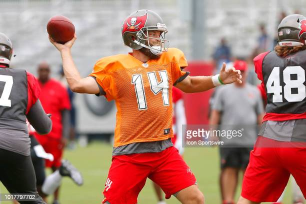 Ryan Fitzgerald throws the ball to the open receiver during the joint training camp work out between the Tampa Bay Buccaneers and the Tennessee...