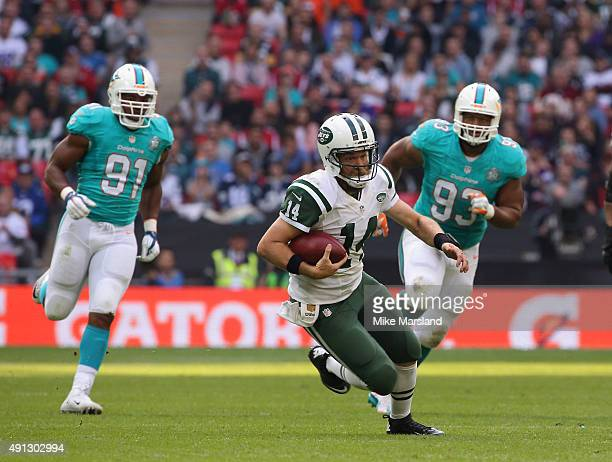 Ryan Fitzpatrick at the annual NFL International fixture as the New York Jets compete against the Miami Dolphins at Wembley Stadium on October 4 2015...