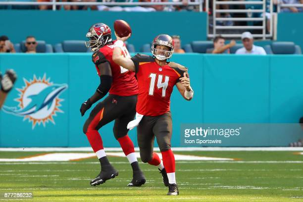 Ryan Fitzpatrick of the Bucs throws the ball upfield during game between the Tampa Bay Buccaneers and the Miami Dolphins on Sunday Nov 19 2017 at...