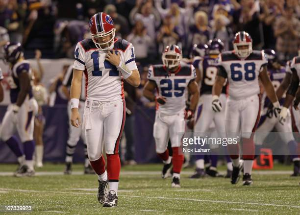 Ryan Fitzpatrick of the Buffalo Bills walks from the field after throwing an interception against the Minnesota Vikings at the Mall of America Field...