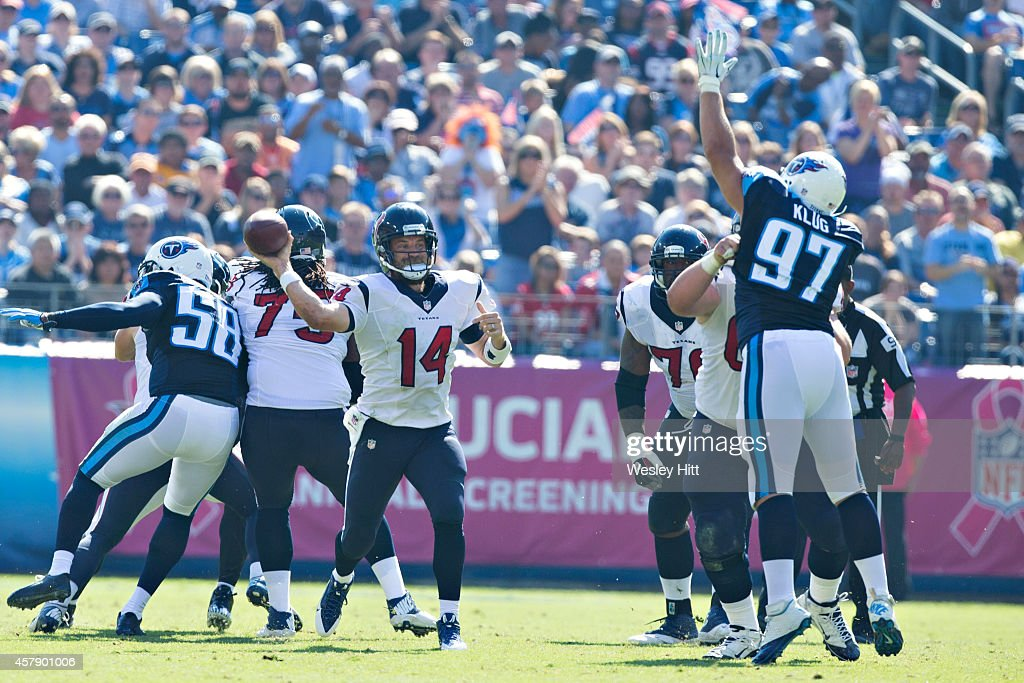 Ryan Fitzpatrick #14 of the Houston Texans throws a pass against the Tennessee Titans at LP Field on October 26, 2014 in Nashville, Tennessee. The Texans defeated the Titans 30-16.