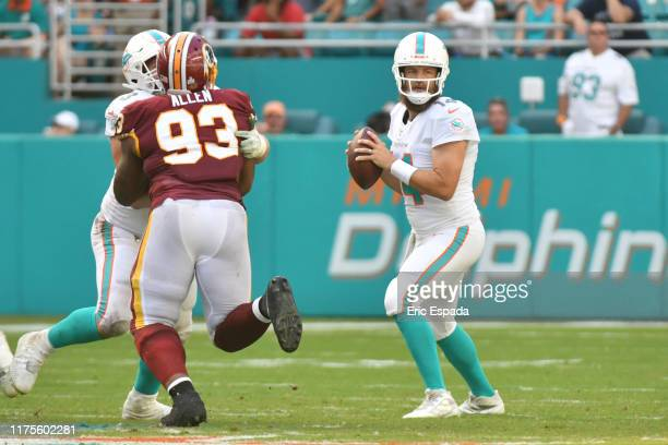 Ryan Fitzpatrick of the Miami Dolphins drops back to pass during the fourth quarter against the Washington Redskins at Hard Rock Stadium on October...