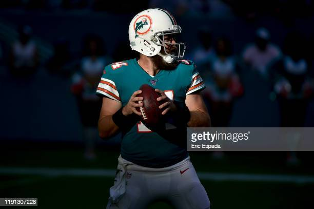 Ryan Fitzpatrick of the Miami Dolphins drops back to pass during the second half against the Philadelphia Eagles at Hard Rock Stadium on December 01,...