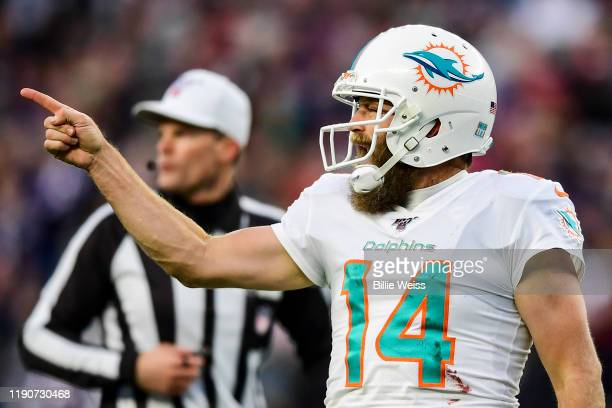 Ryan Fitzpatrick of the Miami Dolphins reacts after throwing the game winning touchdown pass during the fourth quarter of a game against the New...