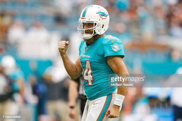Ryan Fitzpatrick of the Miami Dolphins reacts against the Cincinnati Bengals during the fourth quarter at Hard Rock Stadium on December 22, 2019 in...