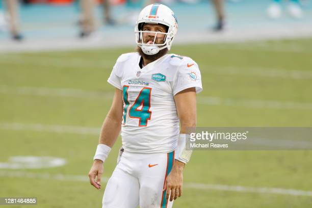 Ryan Fitzpatrick of the Miami Dolphins reacts against the New York Jets at Hard Rock Stadium on October 18, 2020 in Miami Gardens, Florida.