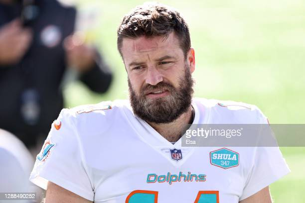 Ryan Fitzpatrick of the Miami Dolphins warms up prior to their game against the New York Jets at MetLife Stadium on November 29, 2020 in East...