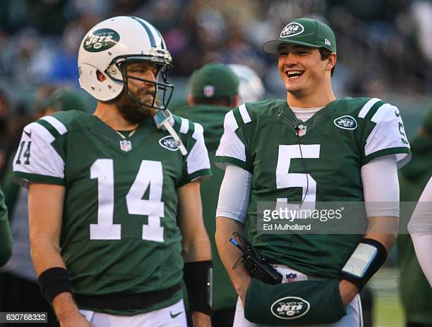 Ryan Fitzpatrick of the New York Jets and Christian Hackenberg of the New York Jets on the sidelines during the second half of their game against the...