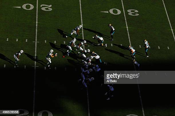 Ryan Fitzpatrick of the New York Jets in action against the Jacksonville Jaguars during their game at MetLife Stadium on November 8 2015 in East...