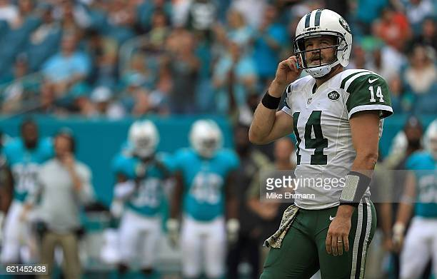 Ryan Fitzpatrick of the New York Jets looks on during a game against the Miami Dolphins at Hard Rock Stadium on November 6 2016 in Miami Gardens...