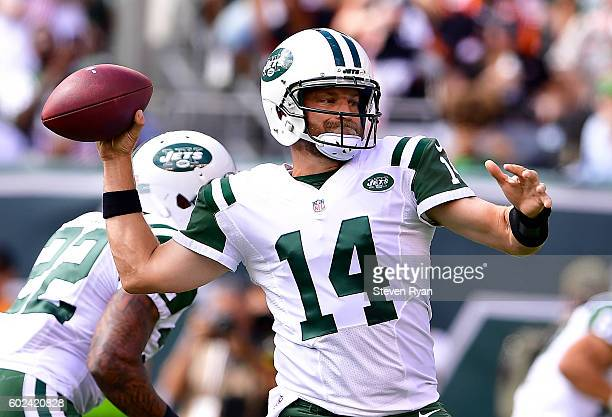 Ryan Fitzpatrick of the New York Jets looks to pass against the New York Jets during the first quarter at MetLife Stadium on September 11 2016 in...