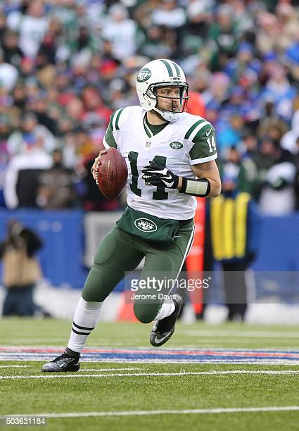 Ryan Fitzpatrick of the New York Jets looks to pass during the second half against the Buffalo Bills at Ralph Wilson Stadium on January 03 2016 in...