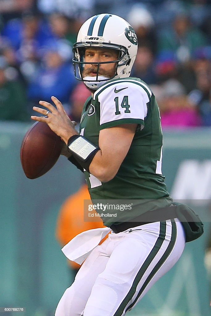 Ryan Fitzpatrick #14 of the New York Jets looks to pass during the second half of their game against the Buffalo Bills at MetLife Stadium on January 1, 2017 in East Rutherford, New Jersey.