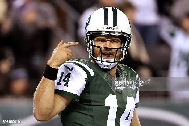 Ryan Fitzpatrick of the New York Jets reacts against the New England Patriots during the fourth quarter in the game at MetLife Stadium on November 27...
