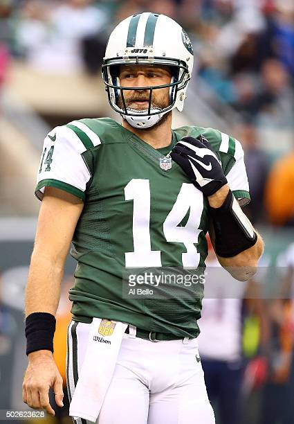 Ryan Fitzpatrick of the New York Jets reacts in the third quarter against the New England Patriots during their game at MetLife Stadium on December...