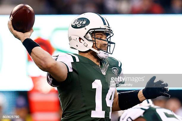 Ryan Fitzpatrick of the New York Jets throws a pass against the New England Patriots during their game at MetLife Stadium on December 27 2015 in East...