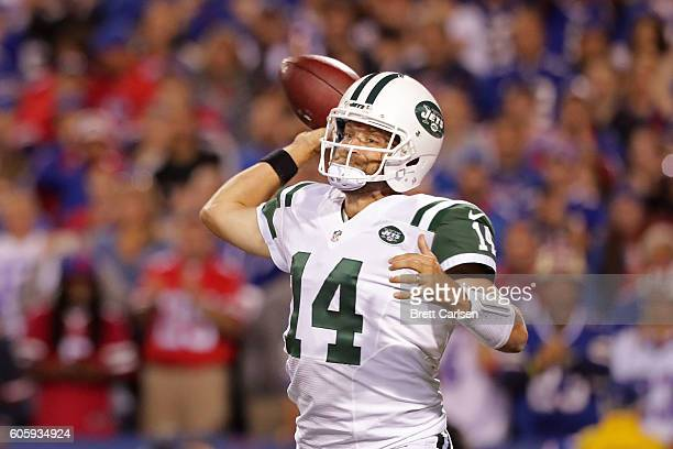 Ryan Fitzpatrick of the New York Jets throws a pass against the Buffalo Bills during the first half at New Era Field on September 15 2016 in Orchard...