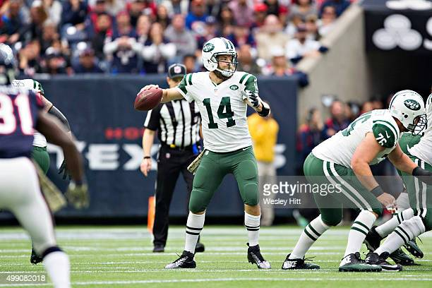 Ryan Fitzpatrick of the New York Jets throws a pass during a game against the Houston Texans at NRG Stadium on November 22 2015 in Houston Texas The...