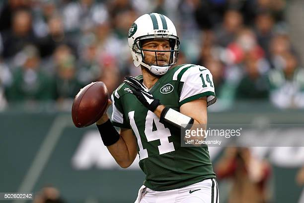 Ryan Fitzpatrick of the New York Jets throws a pass in the first quarter against the New England Patriots during their game at MetLife Stadium on...