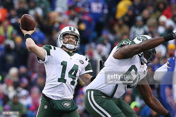 Ryan Fitzpatrick of the New York Jets throws down field against the Buffalo Bills during the second half at Ralph Wilson Stadium on January 3 2016 in...