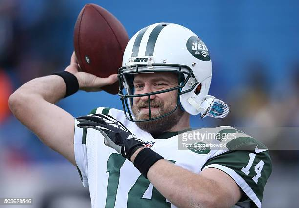 Ryan Fitzpatrick of the New York Jets warms up before playing against the Buffalo Bills during NFL game action at Ralph Wilson Stadium on January 3...