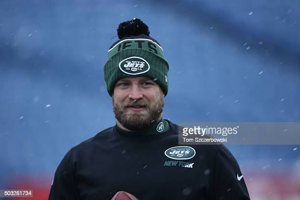 Ryan Fitzpatrick of the New York Jets warms up before the game against the Buffalo Bills at Ralph Wilson Stadium on January 3 2016 in Orchard Park...