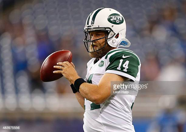 Ryan Fitzpatrick of the New York Jets warms up prior to the start of the preseason game against the Detroit Lions on August 13 2015 at Ford Field...