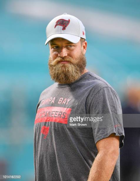 Ryan Fitzpatrick of the Tampa Bay Buccaneers before the preseason game against the Miami Dolphins at Hard Rock Stadium on August 9 2018 in Miami...