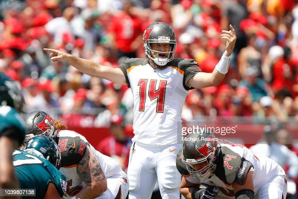 Ryan Fitzpatrick of the Tampa Bay Buccaneers in action against the Philadelphia Eagles at Raymond James Stadium on September 16 2018 in Tampa Florida