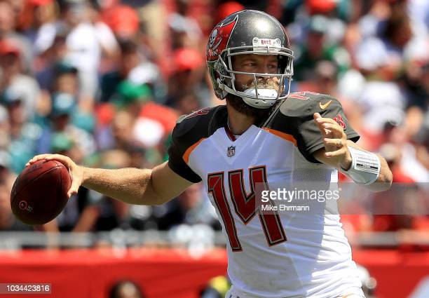 Ryan Fitzpatrick of the Tampa Bay Buccaneers passes up during a game against the Philadelphia Eagles at Raymond James Stadium on September 16 2018 in...