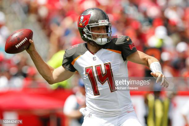 Ryan Fitzpatrick of the Tampa Bay Buccaneers throws a pass against the Philadelphia Eagles during the first half at Raymond James Stadium on...