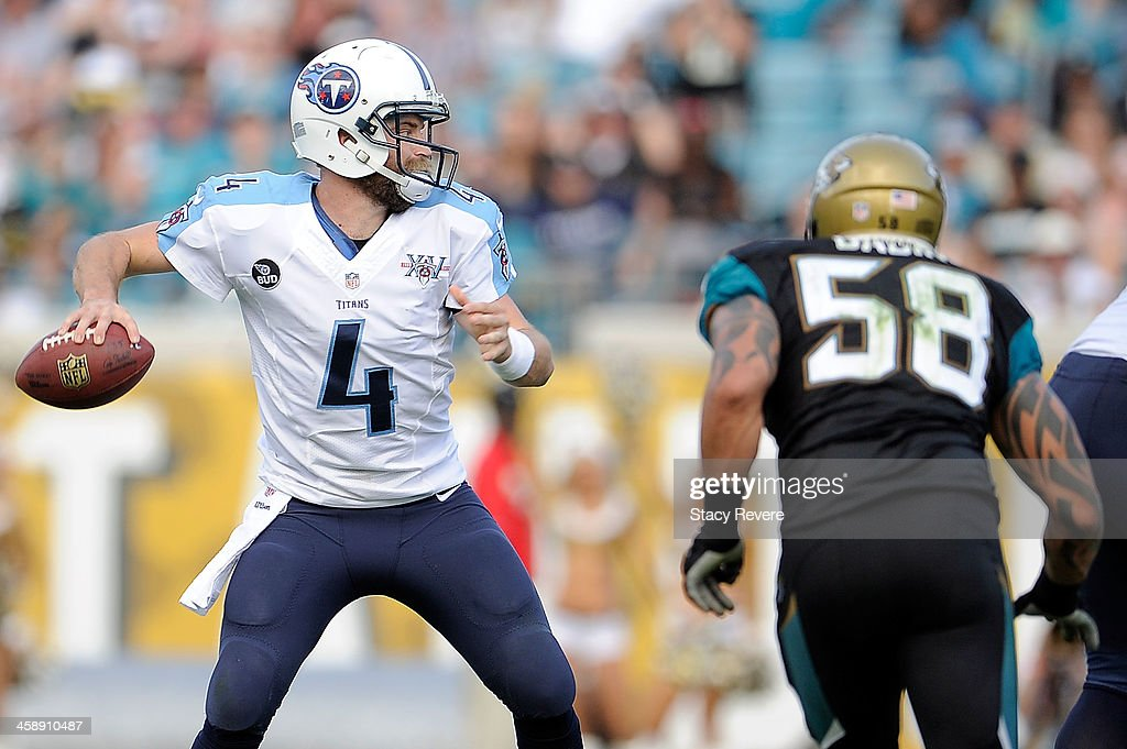 Ryan Fitzpatrick #4 of the Tennessee Titans drops back to pass against the Jacksonville Jaguars during a game at EverBank Field on December 22, 2013 in Jacksonville, Florida. Tennessee won the game 20-16.