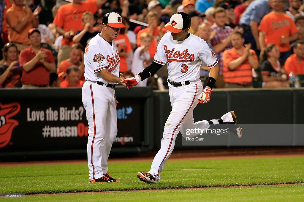 Ryan Flaherty #3 of the Baltimore Orioles is congratulated by third base coach Bobby Dickerson #11 after hitting a solo home run against the Boston Red Sox in the seventh inning of the Orioles 4-0 win at Oriole Park at Camden Yards on June 9, 2014 in Baltimore, Maryland.