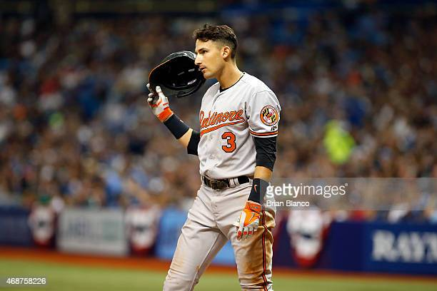 Ryan Flaherty of the Baltimore Orioles reacts after striking out swinging to pitcher Steven Geltz of the Tampa Bay Rays to end the top of the sixth...