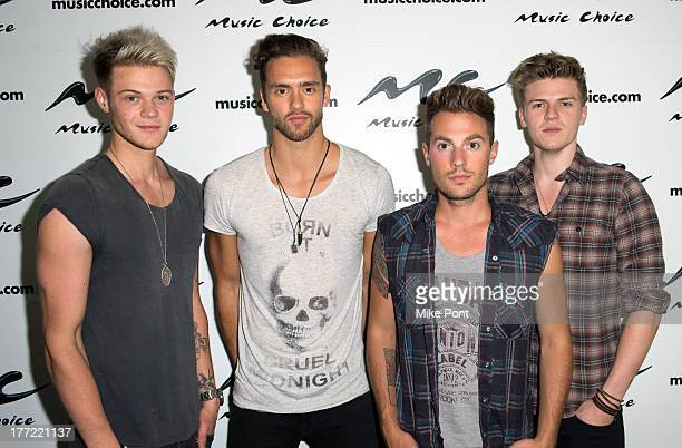 Ryan Fletcher Andy Brown Adam Pitts and Joel Peat of Lawson visit Music Choice on August 22 2013 in New York City
