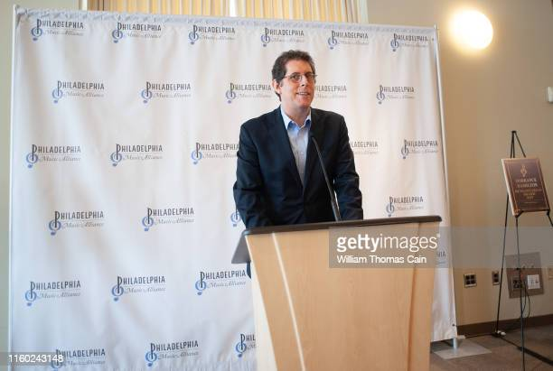 Ryan Fleur Executive Director of The Philadelphia Orchestra speaks with the media after the orchestra was nominated for induction during the...