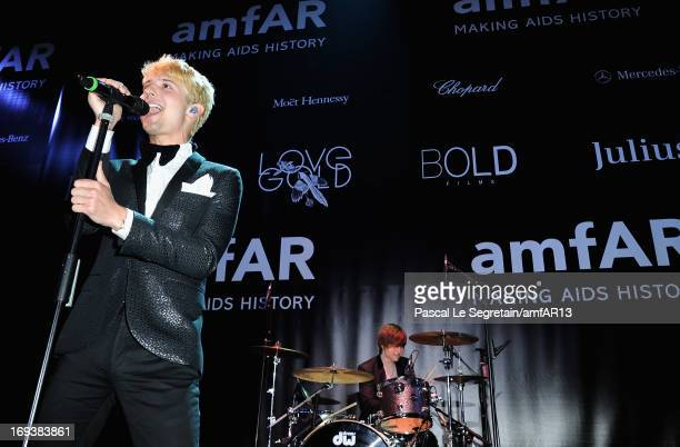 Ryan Follese of Hot Chelle Rae perform on stage at the amfAR's 20th Annual Cinema Against AIDS during The 66th Annual Cannes Film Festival at Hotel...
