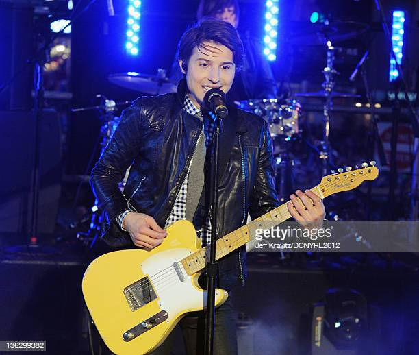 Ryan Follese of Hot Chelle Rae performs during Dick Clark's New Year's Rockin' Eve with Ryan Seacrest 2012 at Times Square on December 31 2011 in New...
