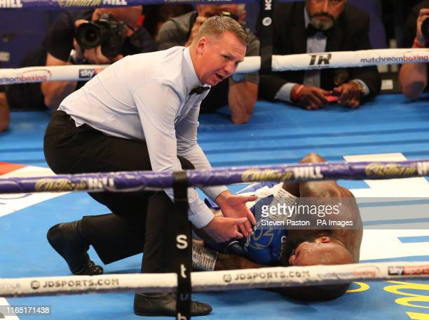 Ryan Ford goes down during the WBA International lighthevyweight championship bout at the O2 Arena London