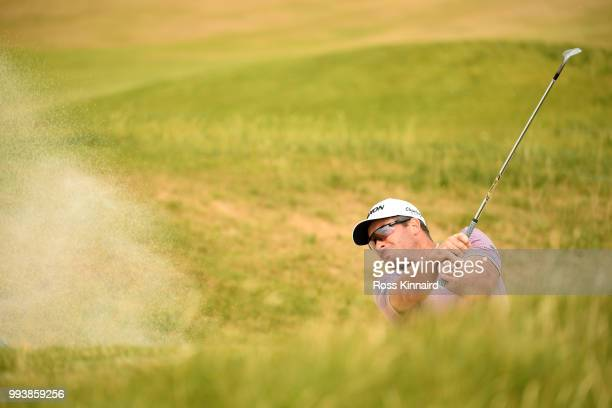 Ryan Fox of New Zealand hits from a bunker on the 15th hole during the final round of the Dubai Duty Free Irish Open at Ballyliffin Golf Club on July...